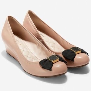 Cole Haan Tali Soft Bow Wedge Nude Leather Shoes